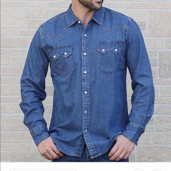 23a150fb Levi's Shirts | Levis Stonewashed Denim Sawtooth Western Shirt S ...